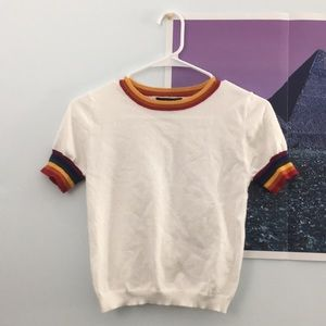 forever 21 rainbow cropped tee